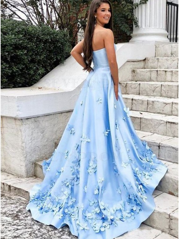 A-Line Strapless Satin Long Blue Prom Dress with Flowers Pockets