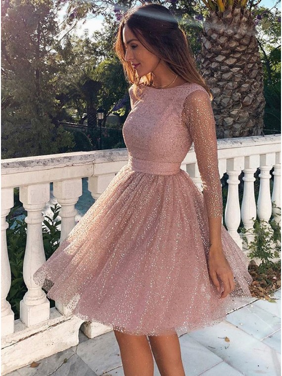Long Sleeves Pink Homecoming Dress Backless Party Dress