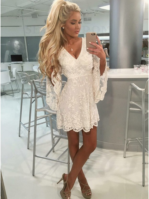 Short A-Line V-Neck White Lace Homecoming Dress with Long Sleeves