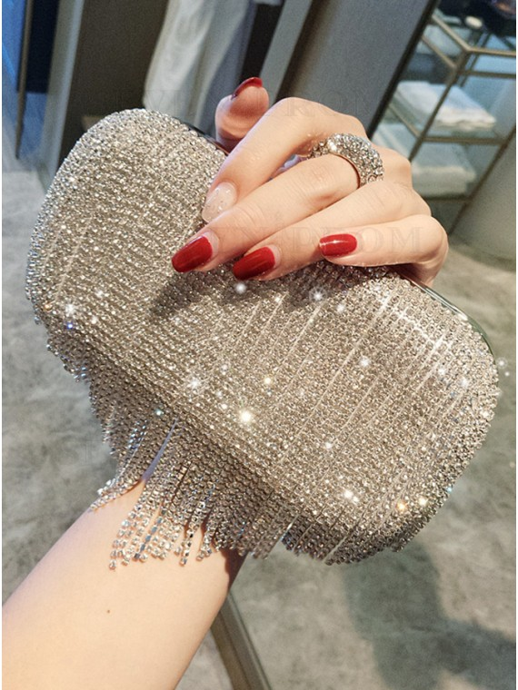 Rhinestone Clutch Purse with Tassel