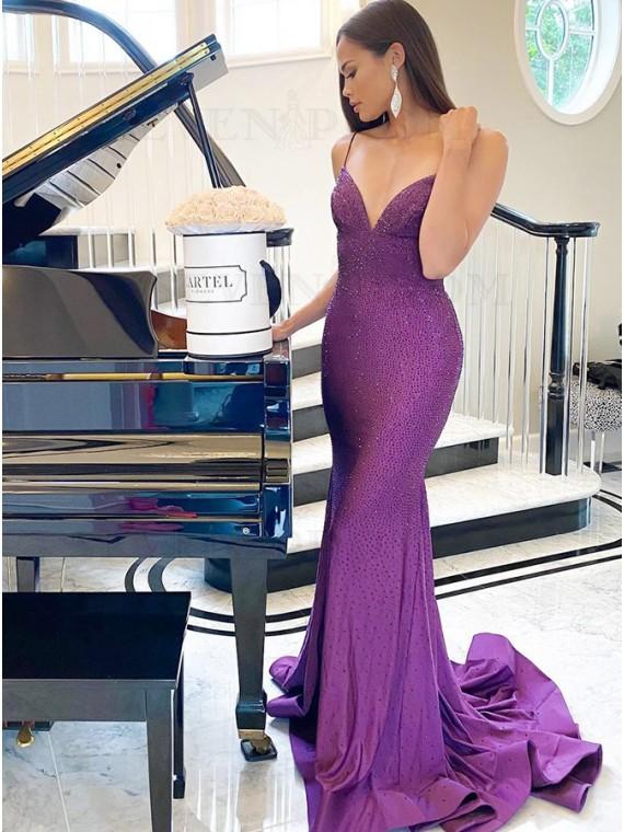 Purple Sequins Satin Prom Dress