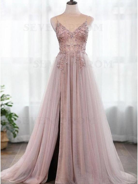 Pink Beading Chiffon Prom Dress