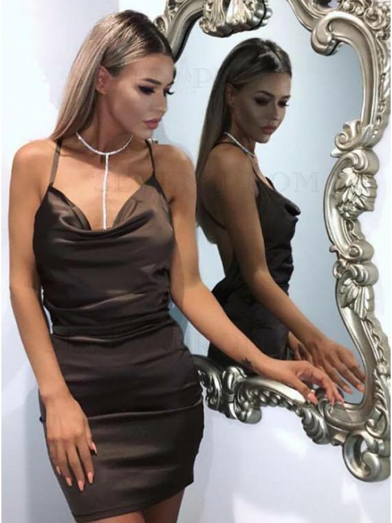 Sheath Spaghetti Straps Criss-Cross Straps Sexy Cocktail Dress