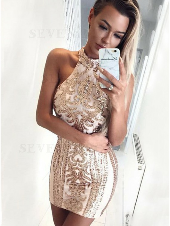 Sheath High Neck Short Champagne Cocktail Dress with Sequins