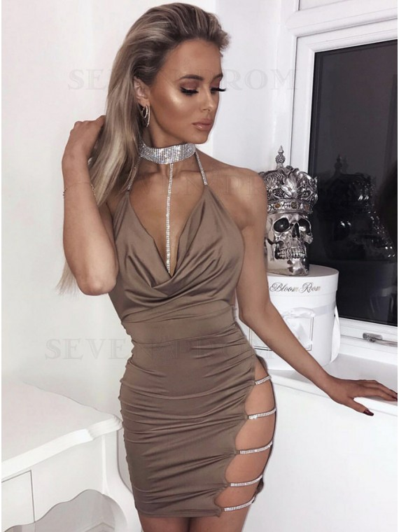 Sheath Halter Backless Brown Short Cocktail Dress with Sequins