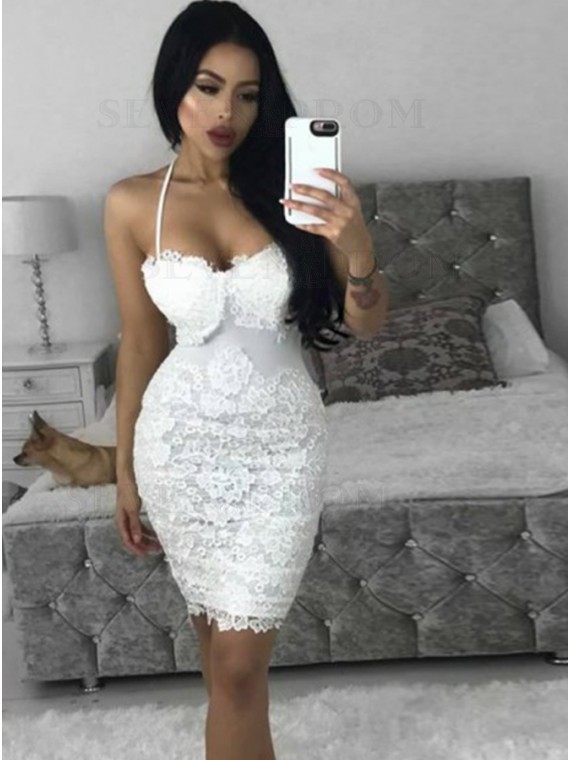 Sheath Spaghetti Straps Short White Cocktail Dress with Lace