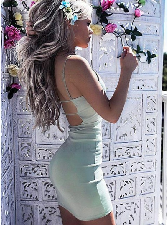 Sheath Spaghetti Straps Backless Short Mint Cocktail Dress