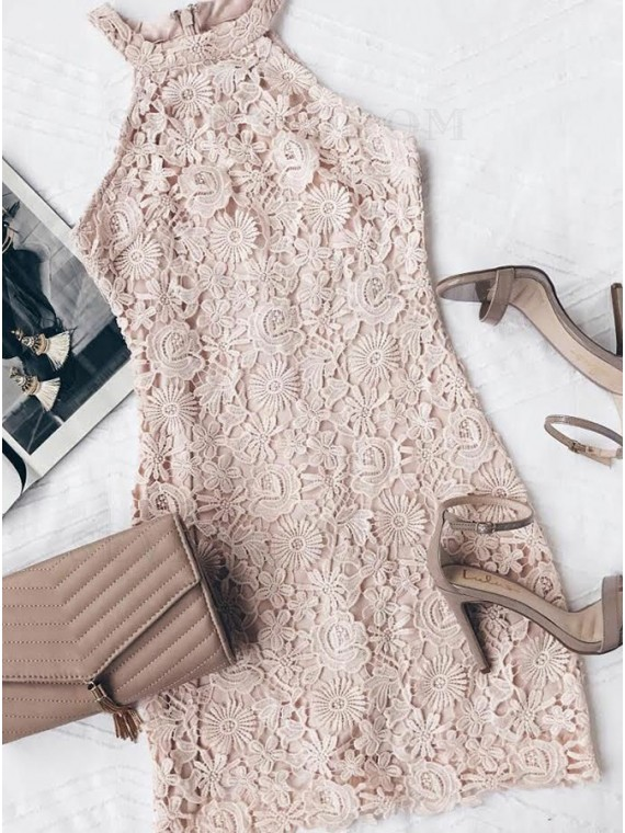 Sheath High Neck Short Champagne Lace Cocktail Dress