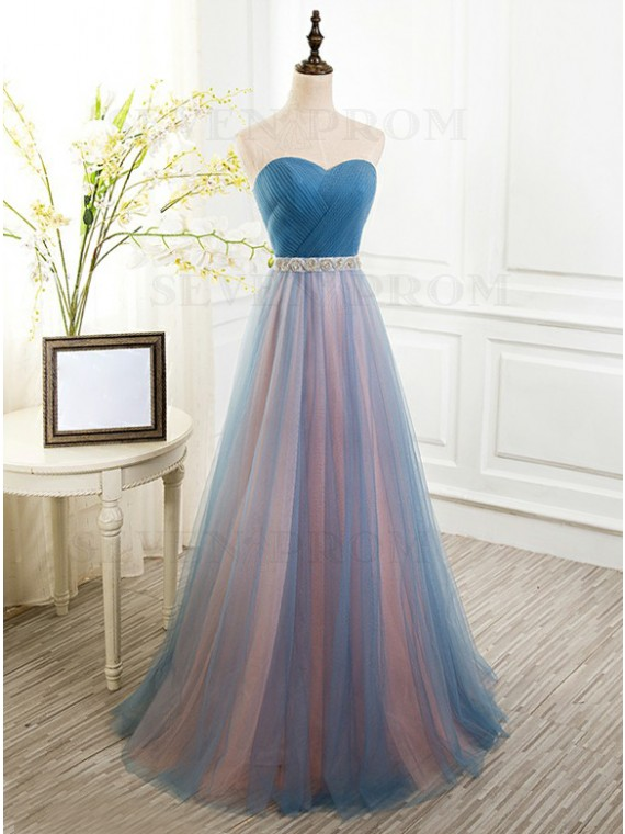 A-Line Sweetheart Floor-Length Blue Prom Dress with Beading