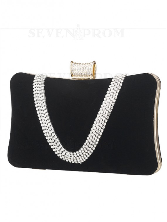 Black Suede Rhinestone Clutch Purse