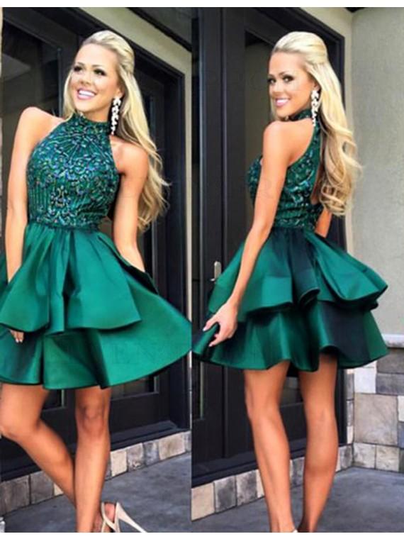 Modern Hunter High Neck Open Back Tiered Beading Short Prom Dress