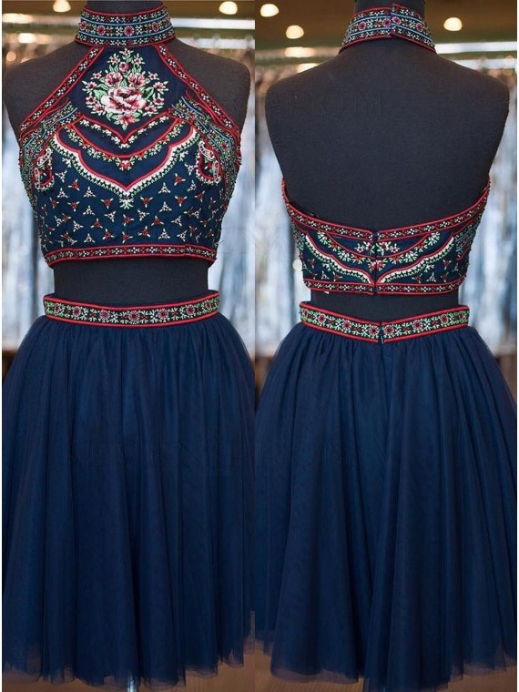 Vintage Navy Blue Two Piece High Neck Knee-Length Embriodery Backless Homecoming Dress