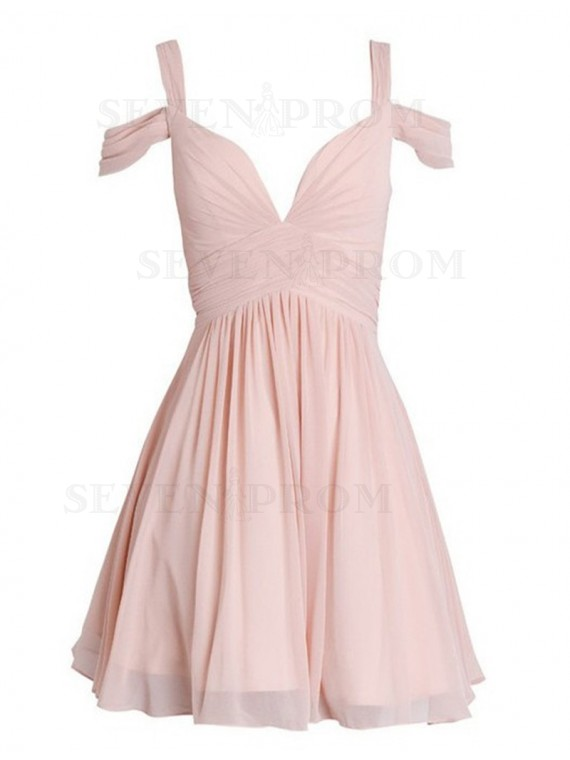 Simple Pink Straps Above-Knee Open Back Pleats Homecoming Cocktail Dress