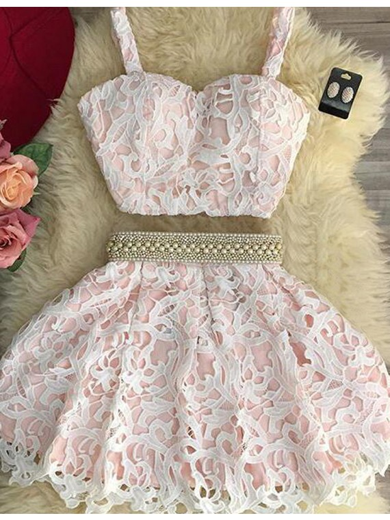 Pink Two Piece Lace Scoop Pearls Short Homecoming Cocktail Dress