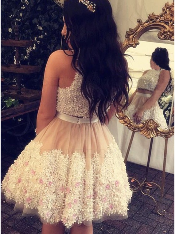 Two Piece Jewel Champagne Homecoming Dress with ApplIques