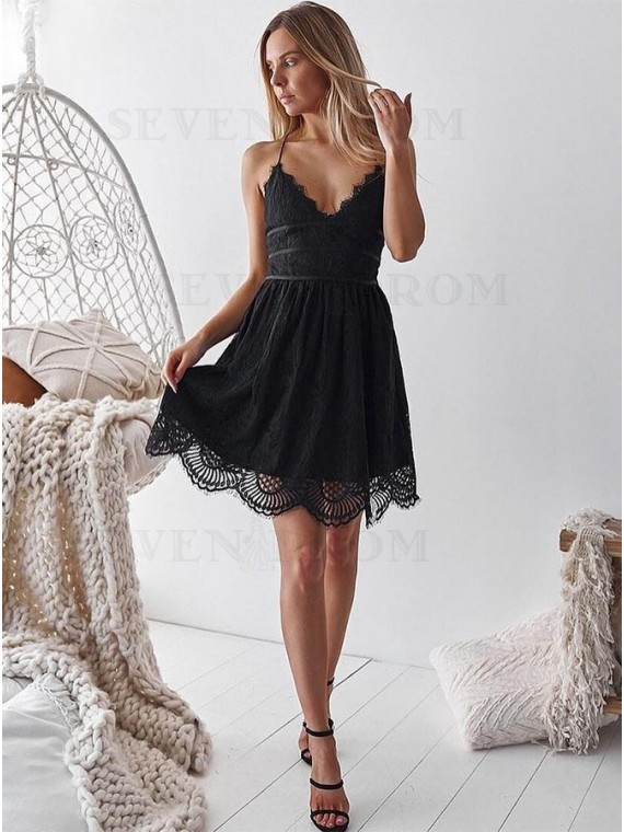 A-Line Spaghetti Straps Black Homecoming Dress with Lace