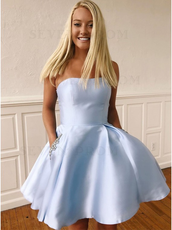 A-Line Strapless Short Light Blue Homecoming Dress with Pockets