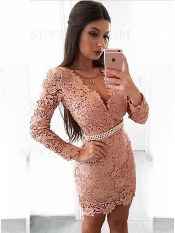 Sheath V-Neck Long Sleeves Blush Lace Cocktail Dress with Pearls