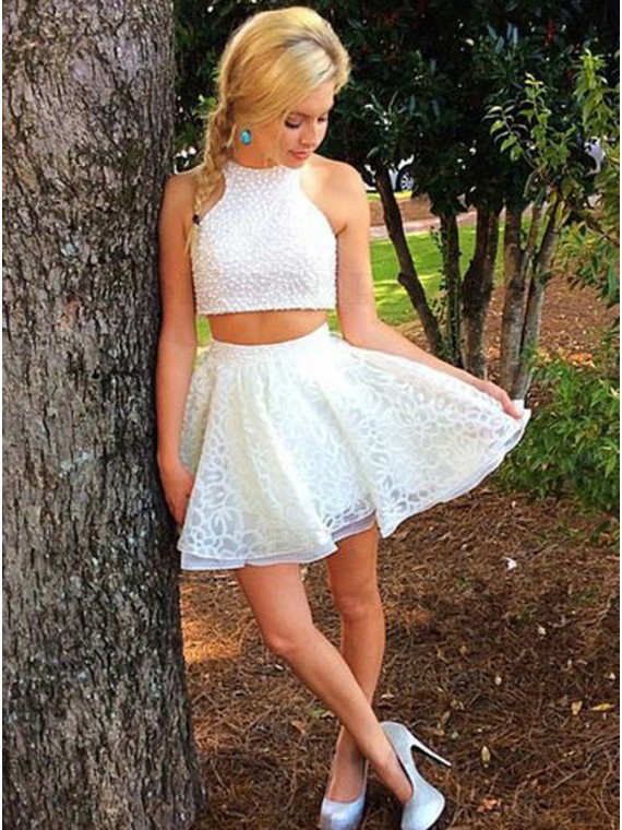 Two Piece Jewel Open Back Short White Homecoming Dress with Pearls