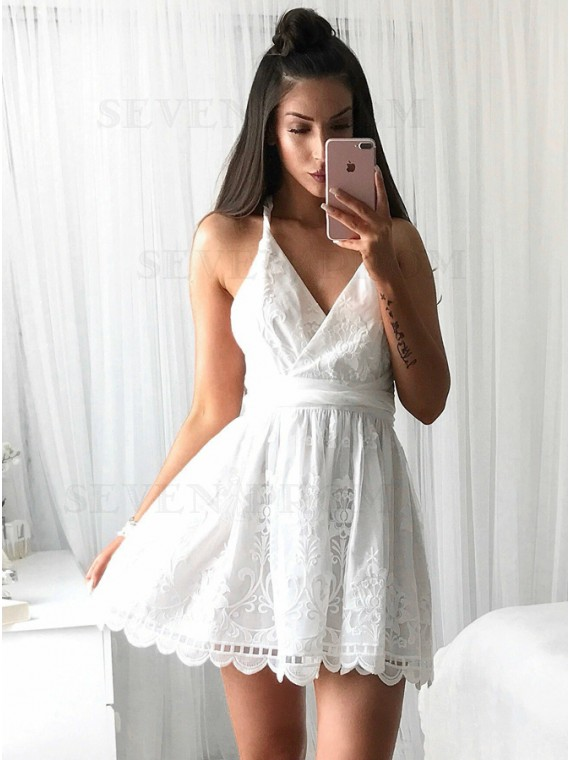 A-Line V-Neck Criss-Cross Straps Short White Lace Homecoming Dress