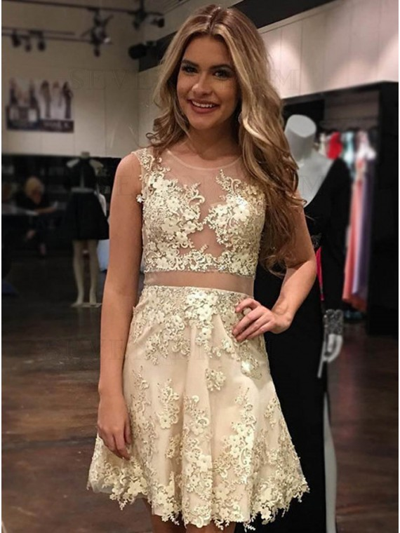 A-Line Jewel Sleeveless Above-Knee Champagne Homecoming Dress with Appliques