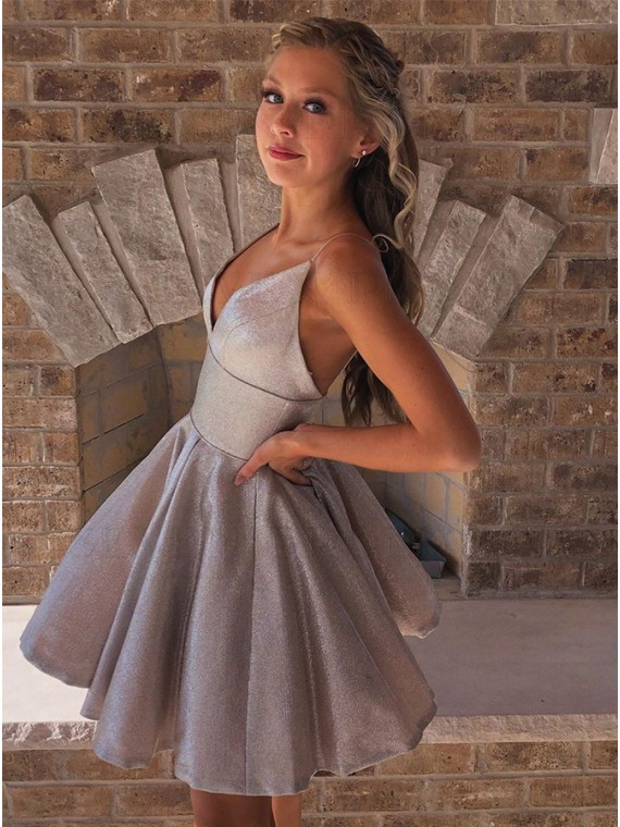 A-Line Sleeveless Short Silver Homecoming Dress