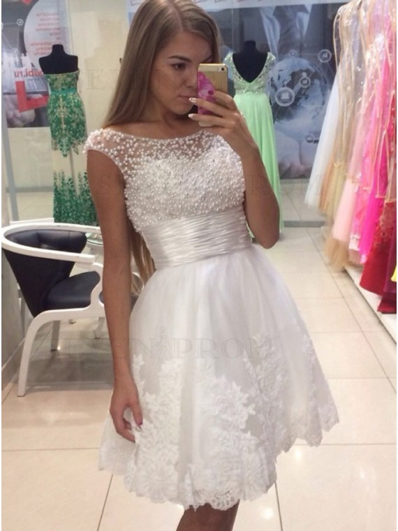 A-Line Crew Neck White Homecoming Dress with Appliques Pearls