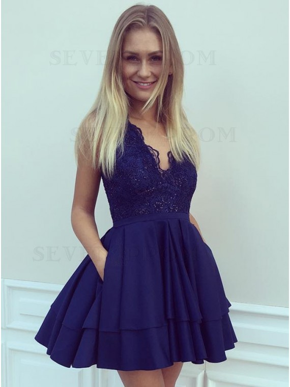 A-Line V-Neck Short Navy Blue Satin Homecoming Dress with Lace Pockets