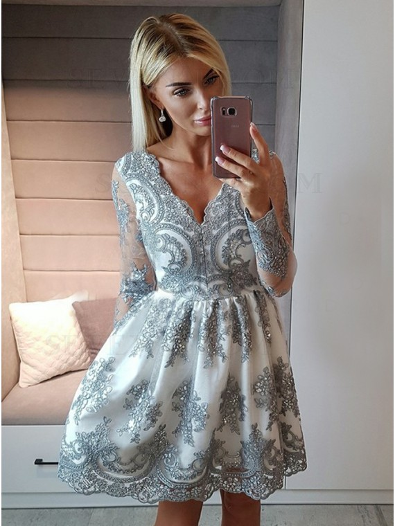A-Line V-Neck Long Sleeves Silver Appliques Short Homecoming Dress