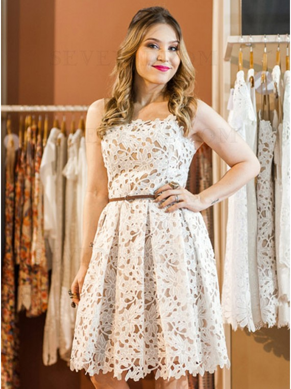 Buy A Line Spaghetti Straps Knee Length White Lace Homecoming Dress From Sevenprom Com 0 00