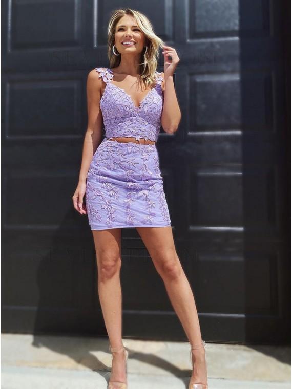 Two Piece Sheath Lilac Homecoming Dress