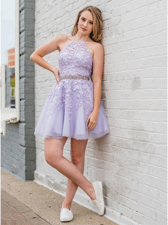 Halter Lilac Short Homecoming Dress