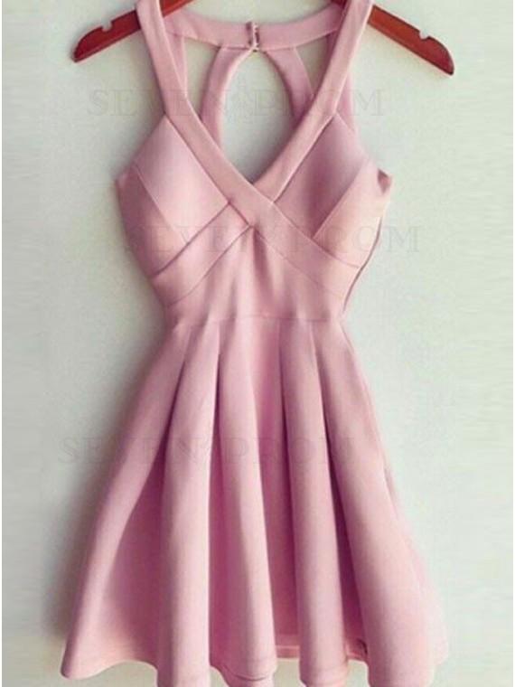 A-Line V-Neck Open Back Pink Short Homecoming Dress