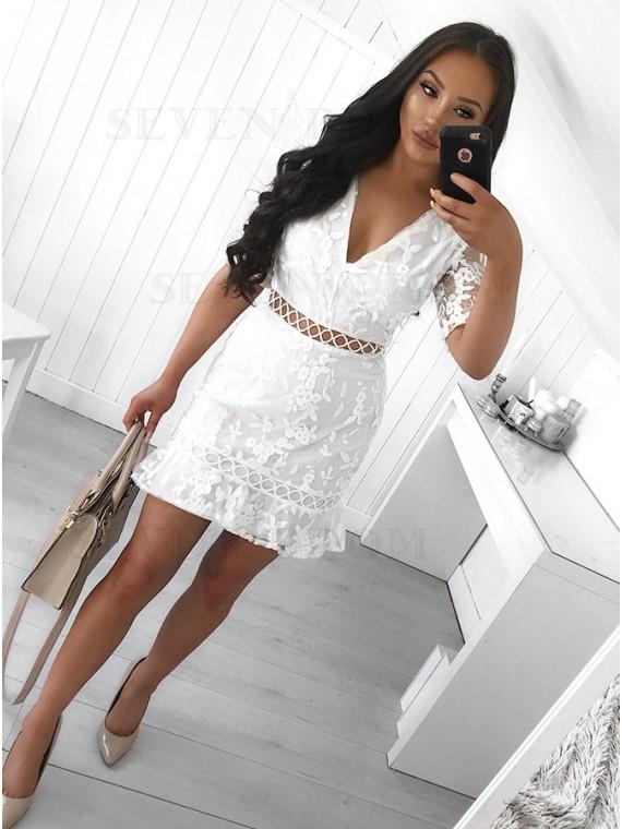 Sheath V-Neck Above-Knee White Lace Homecoming Dress