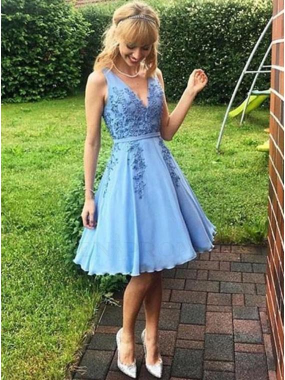A-Line V-Neck Blue Homecoming Dress with Appliques