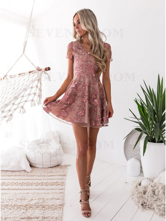 A-Line V-Neck Short Sleeves Blush Homecoming Dress with Embroidery