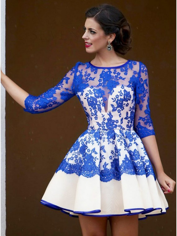 A-Line Round Neck Royal Blue Lace Homecoming Dress with 3/4 Sleeves
