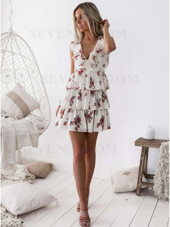 A-Line V Neck Printed Chiffon Tiered Homecoming Dress With Ruffles