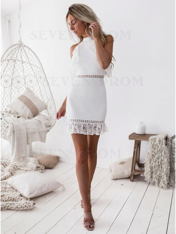 Sheath High Ncek White Lace Short Homecoming Dress with Ruffles