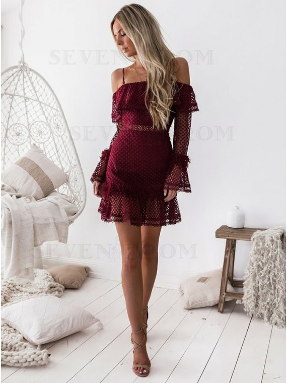 A-Line Cold Shoulder Burgundy Lace Homecoming dress with Ruffles