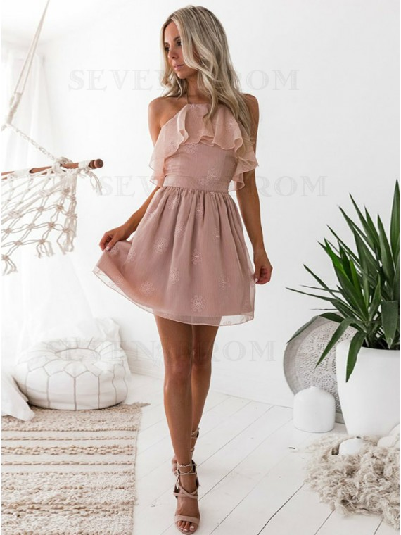 A-Line Halter Printed Blush Chiffon Homecoming Dress With Ruffles