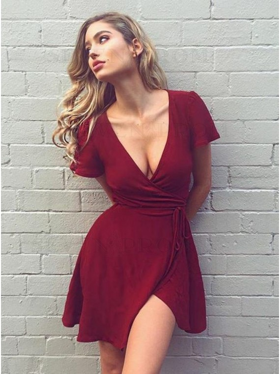 A-Line V-Neck Burgundy Chiffon Homecoming Dress with Belt