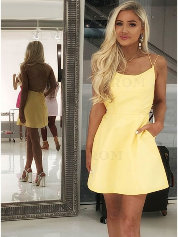 A-Line Spaghetti Straps Short Yellow Satin Homecoming Dress with Pockets