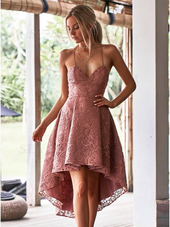 A-Line Spaghetti Straps Blush Lace High Low  Homecoming Dress with Pockets