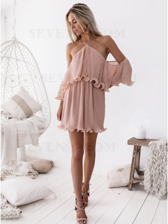 A-Line Halter Blush Chiffon Short Party Homecoming Dress with Ruffles
