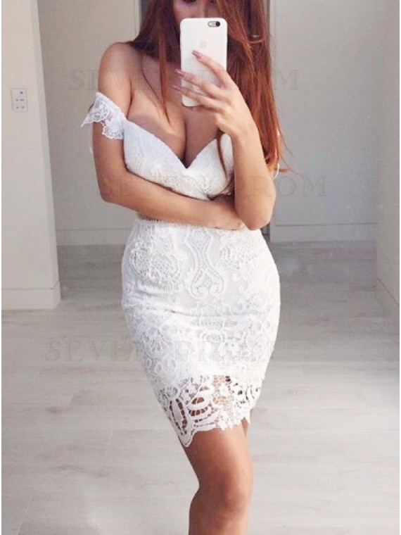 Sheath Off-the-Shoulder White Lace Cocktail Homecoming Dress