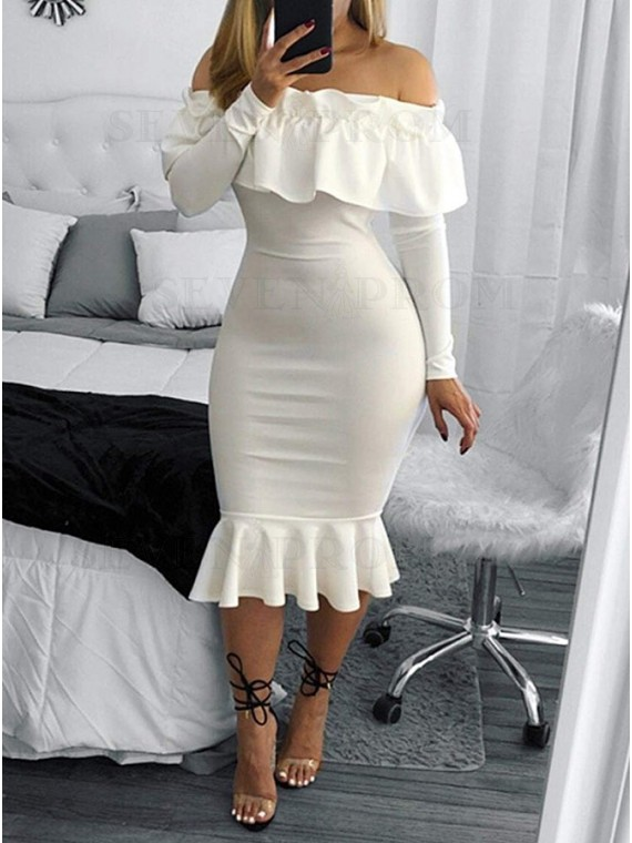Mermaid Off-the-Shoulder Long Sleeves Homecoming Dress with Ruffles