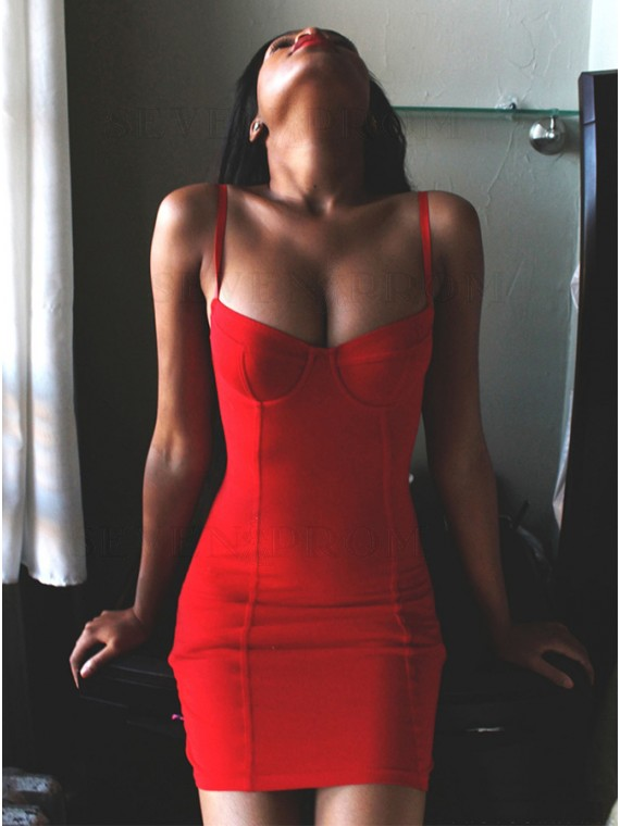 Spaghetti Straps Sheath Red Homecoming Dress Sexy Cocktail Dress