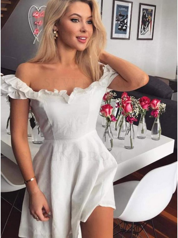 A-Line Off-the-Shoulder Short White Homecoming Dress with Ruffles