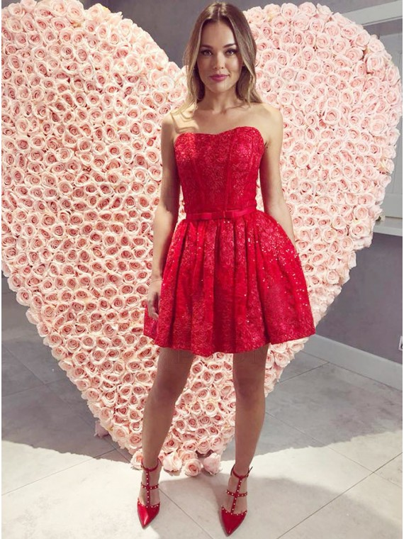 A-Line Sweetheart Above-Knee Red Lace Homecoming Dress with Beading Sash